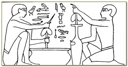 Египетские рабочие высверливают каменный сосуд