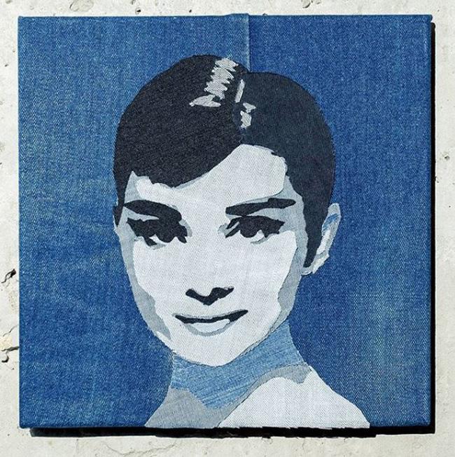 Портрет из джинсовой ткани
